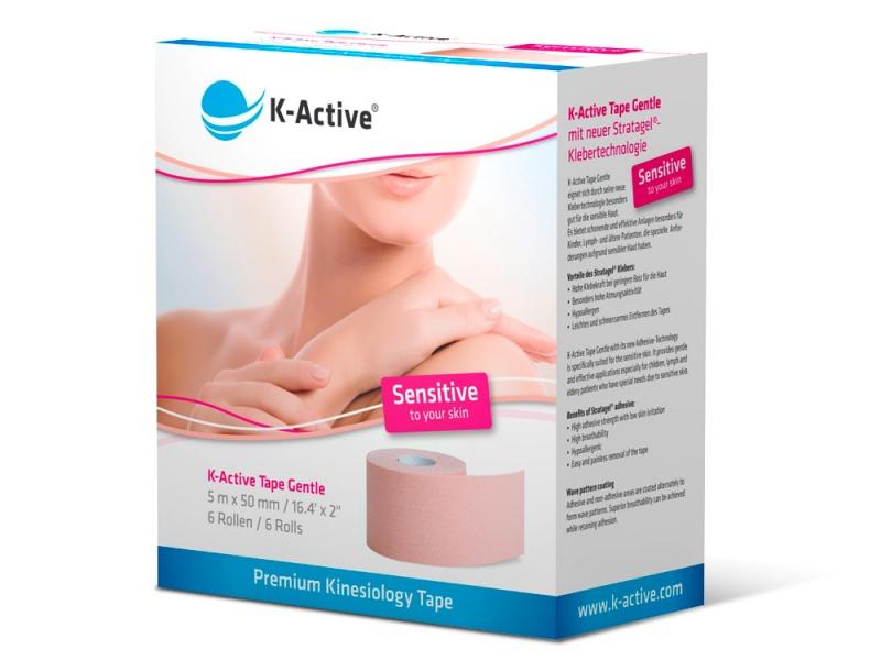 ДЛЯ ЛИЦА с мягким клеем для чувствительной кожи, для использования в косметологии, педиатрии, стоматологии и работе с пожилыми пациентами / Тейп K-Active Gentle 5см х 5м / Nitto Denko (Япония)