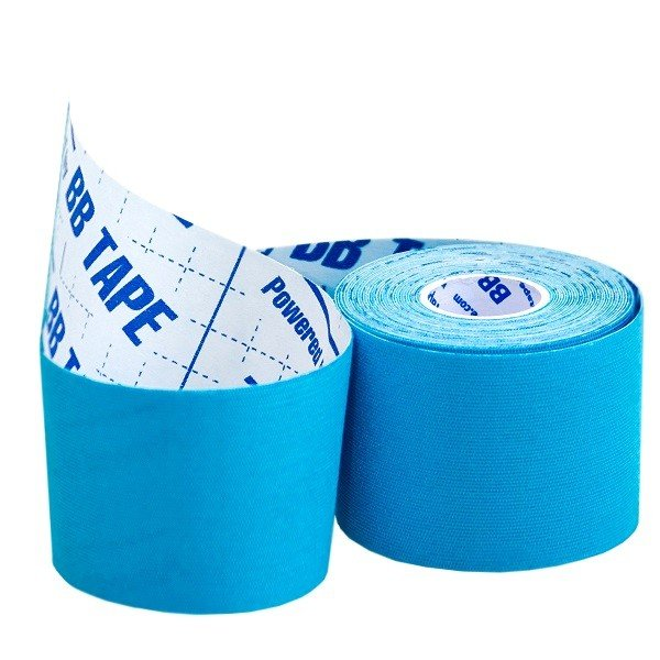Кинезио тейп BBTape ICE 5см × 5м / Искусственный шёлк (вискоза) / Голубой