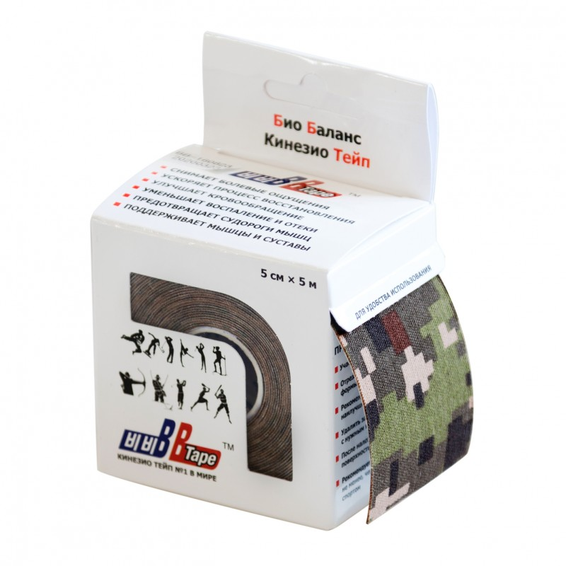Кинезио тейп BBTap принт  5см × 5м / Камуфляж цифровой