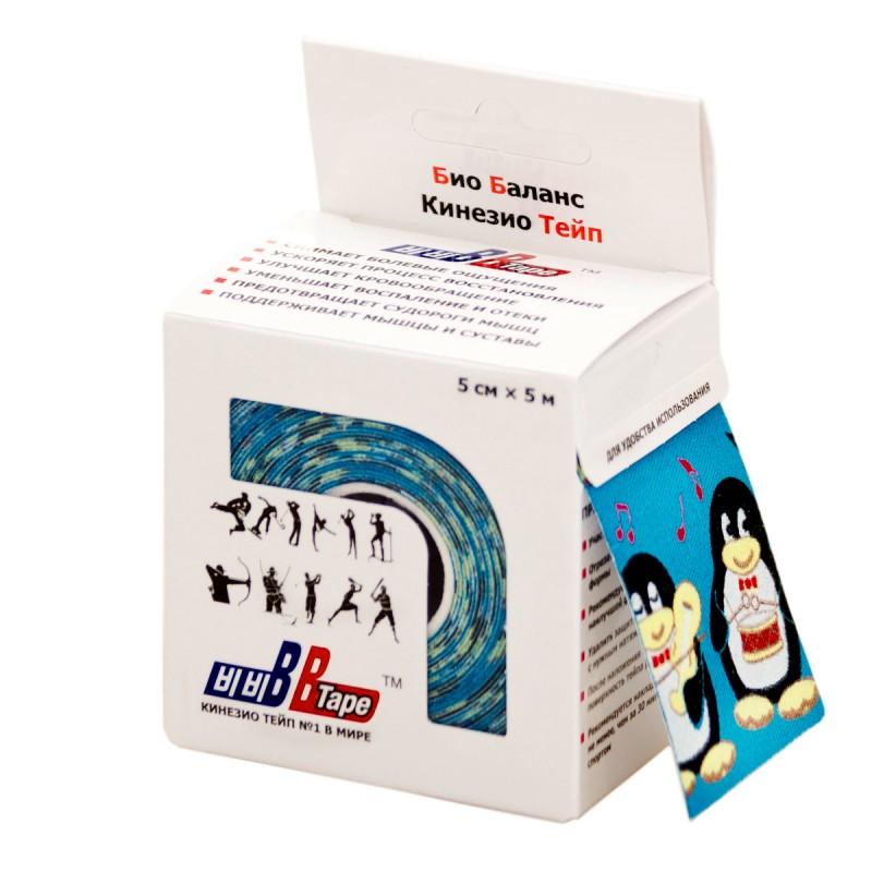 Кинезио тейп BBTape™ 5см × 5м пингвины