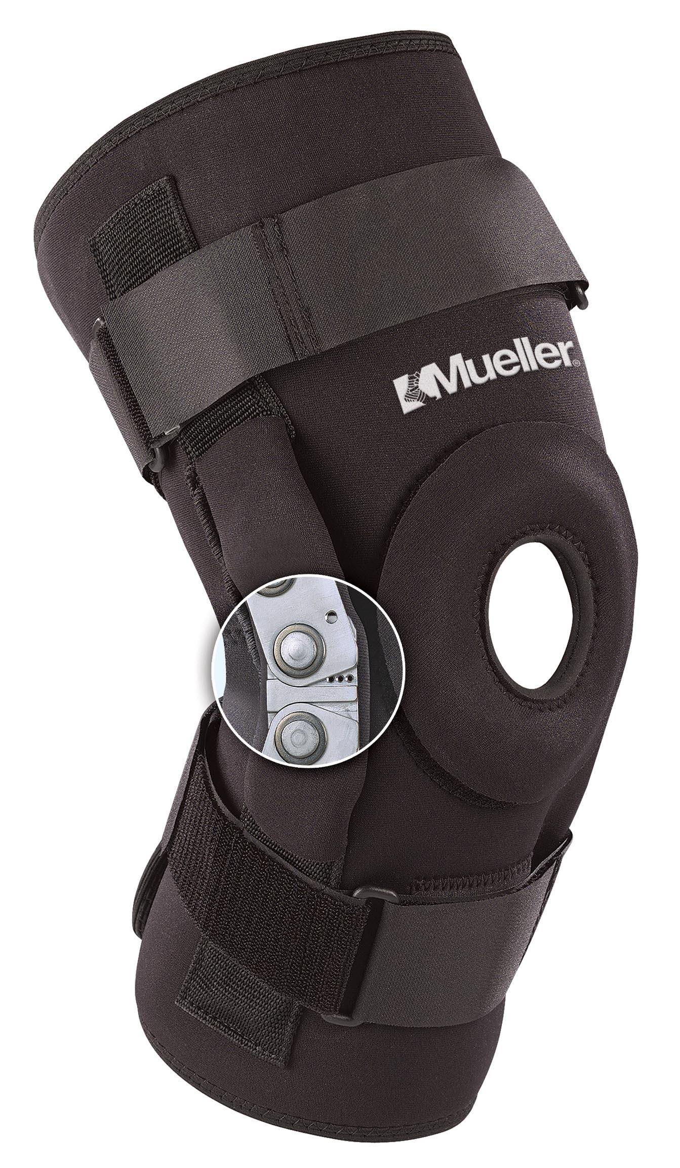 Mueller 5333 / Профессиональный  шарнирный бандаж на колено / черный. Подходит для окружности бедра до 71 см.