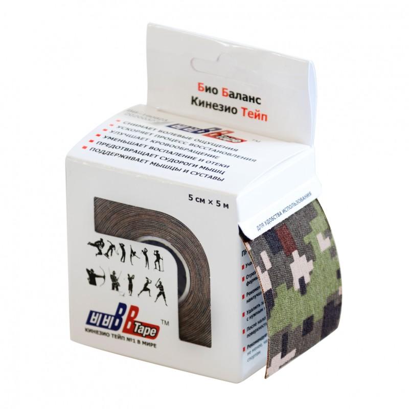 Кинезио тейп BBTape™ 5см × 5м камуфляж цифровой