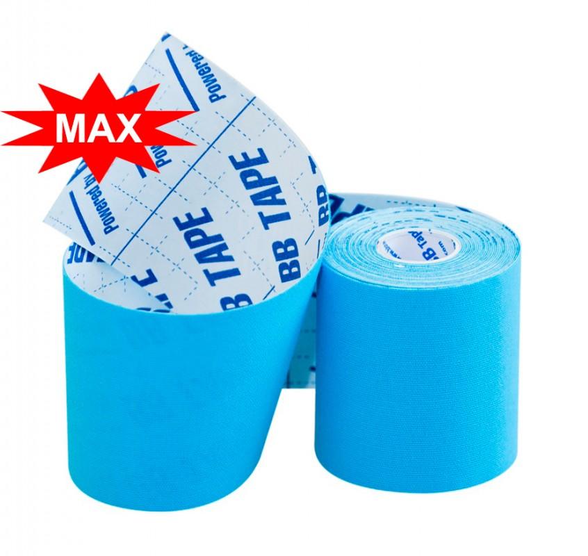 Кинезио тейп BBTape MAX с усиленным клеем 7,5см × 5м / Голубой