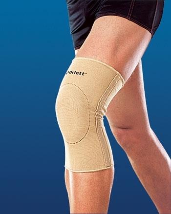 Код EKN-212 Бандаж на колено эласт. с фиксир. подушкой и метал. спирал. ребрами, S,M,L,XL, ХХL
